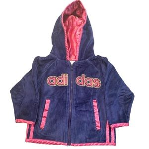 Adidas Blue and Pink Toddler Velour Zip Up Hoodie